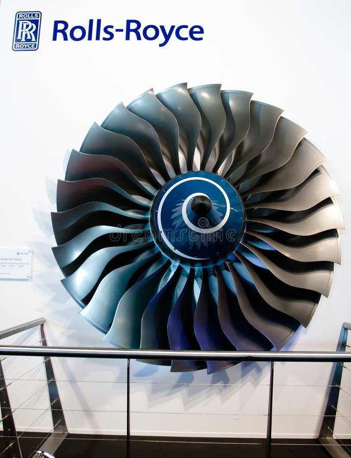 Changi, Singapura - fevereiro 6,2010: Motor de Rolls royce imagem de stock royalty free