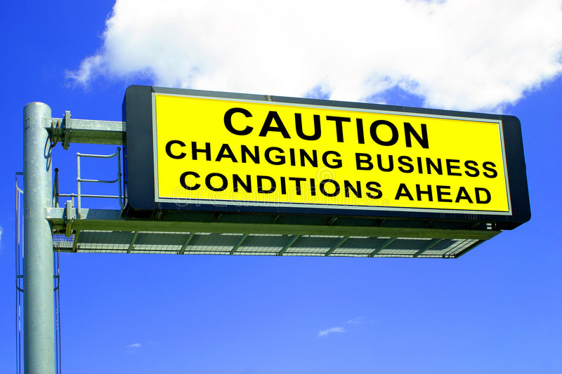 Changing Business Conditions. An altered road sign for use for business improvement publications stock photo