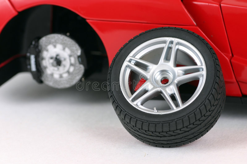 Changing the car wheel stock image