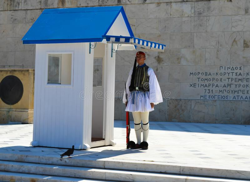Changing of Ceremonial Elite infantry Evzones near parliament in Athens, Greece on June 23, 2017. ATHENS, GREECE - JUNE 23: Changing of Ceremonial Elite royalty free stock photo