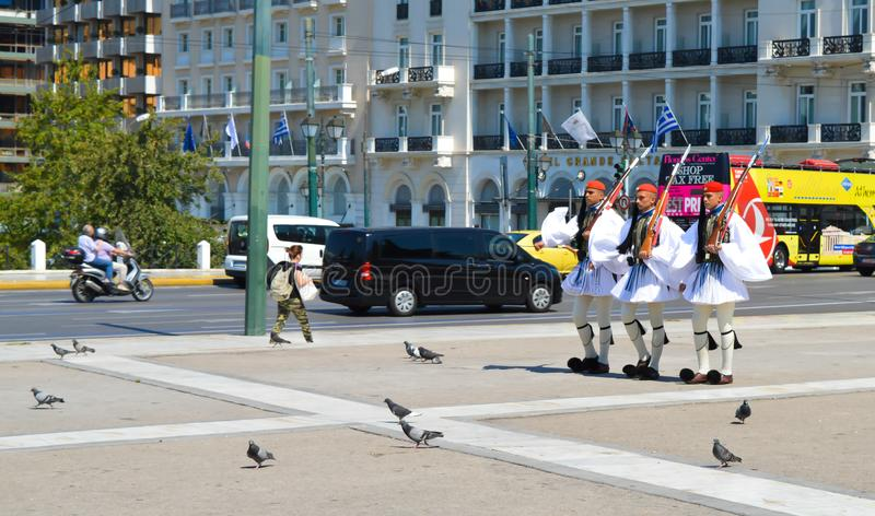 Changing of Ceremonial Elite infantry Evzones near parliament in Athens, Greece on June 23, 2017. ATHENS, GREECE - JUNE 23: Changing of Ceremonial Elite stock photos