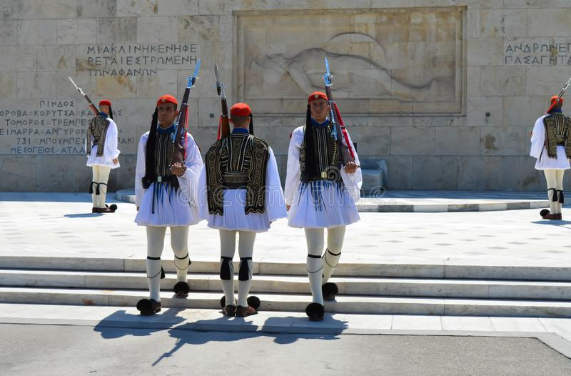 Changing of Ceremonial Elite infantry Evzones near parliament in Athens, Greece on June 23, 2017. ATHENS, GREECE - JUNE 23: Changing of Ceremonial Elite stock photography