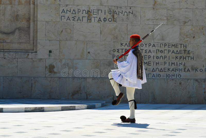Changing of Ceremonial Elite infantry Evzones near parliament in Athens, Greece on June 23, 2017. ATHENS, GREECE - JUNE 23: Changing of Ceremonial Elite stock images