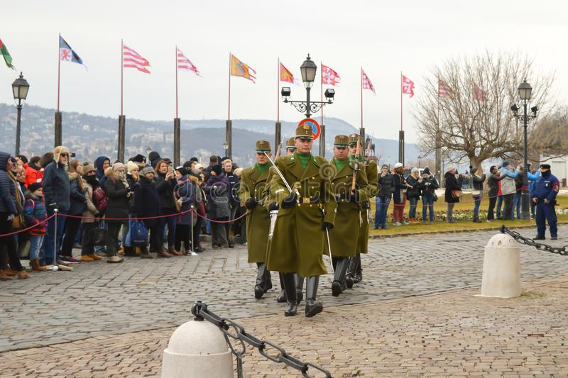 Changing of Ceremonial Elite infantry near Buda Castle in Budapest. BUDAPEST, HUNGARY - DECEMBER 30, 2017: Changing of Ceremonial Elite infantry near Buda Castle royalty free stock image
