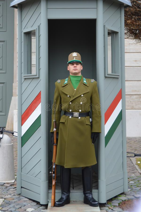 Changing of Ceremonial Elite infantry near Buda Castle in Budapest. BUDAPEST, HUNGARY - DECEMBER 30, 2017: Changing of Ceremonial Elite infantry near Buda Castle royalty free stock images