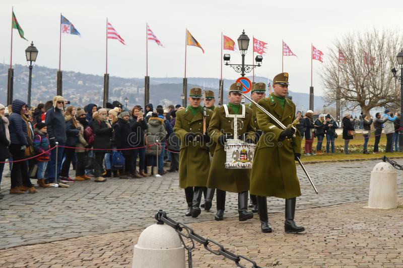 Changing of Ceremonial Elite infantry near Buda Castle in Budapest. BUDAPEST, HUNGARY - DECEMBER 30, 2017: Changing of Ceremonial Elite infantry near Buda Castle stock images