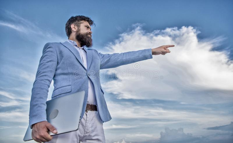 Changing course. Looking for opportunities and new chances. Developing business direction. Man formal suit manager stock photo
