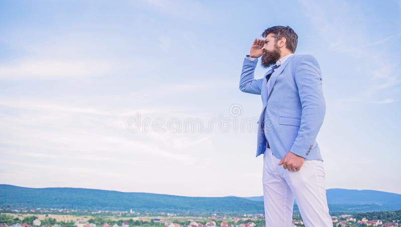Changing course. New business direction. Looking for opportunities and new chances. Man formal suit manager looking stock photo
