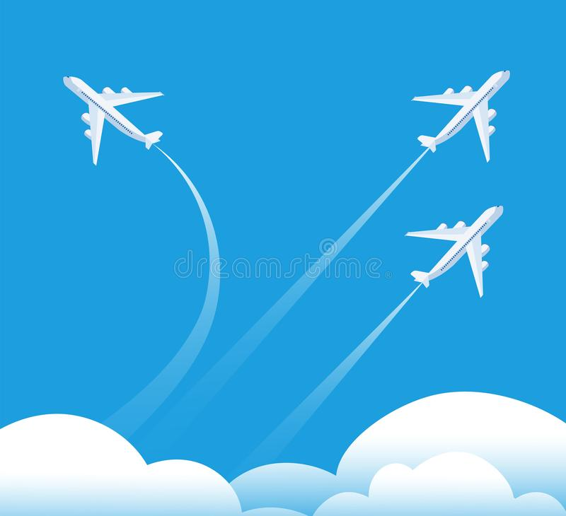 Changing direction concept. Airplane flying in different direction. New trend, unique idea and innovation way business. Background. Illustration of airplane way vector illustration