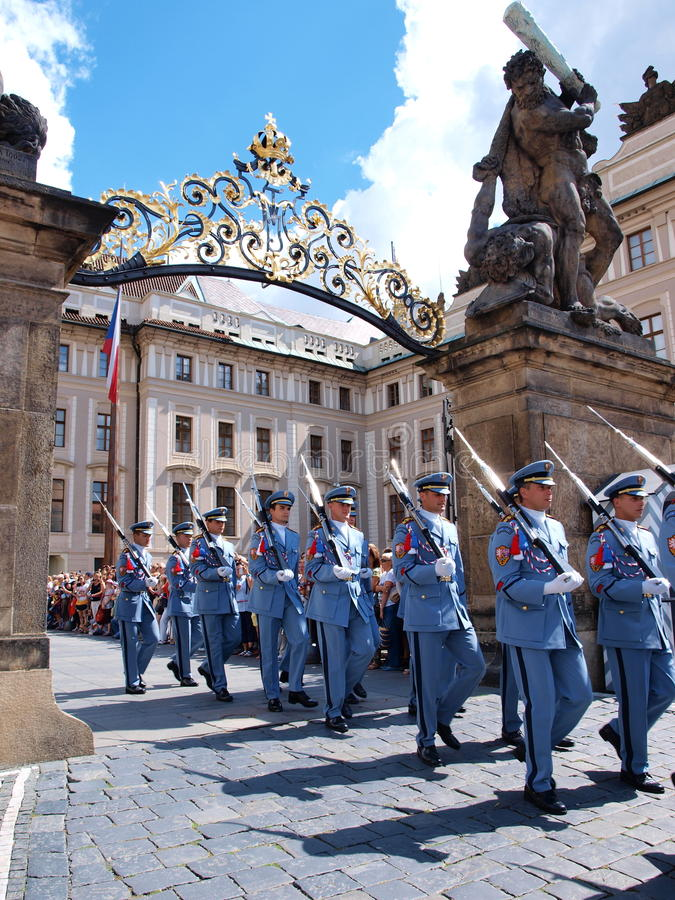 Changing of the guard, Prague, Czech Republic. The changing of the guard at the Prague castle, Prague, Czech Republic royalty free stock image