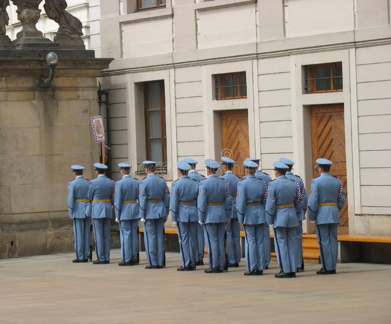 Changing of the guard, Prague, Czech Republic. The changing of the guard at the Prague castle, Prague, Czech Republic royalty free stock photos