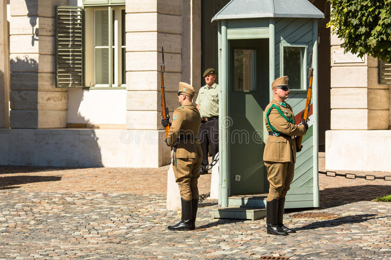 Changing of the Guards by the Hungarian Presidential Palace in the Buda Castle District in Budapest. royalty free stock photos