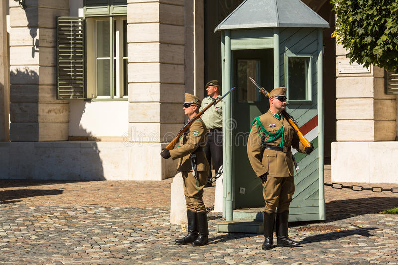 Changing of the Guards by the Hungarian Presidential Palace in the Buda Castle District in Budapest. royalty free stock image