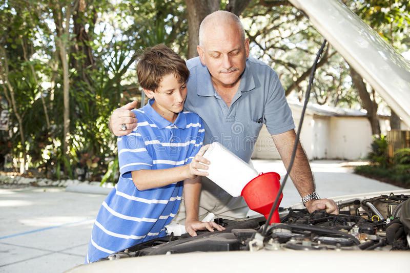Changing Motor Oil stock images