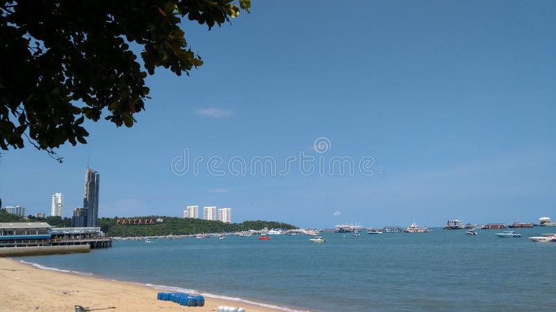 The Changing of Pattaya Beach. Forward or onward movement toward a destination stock image