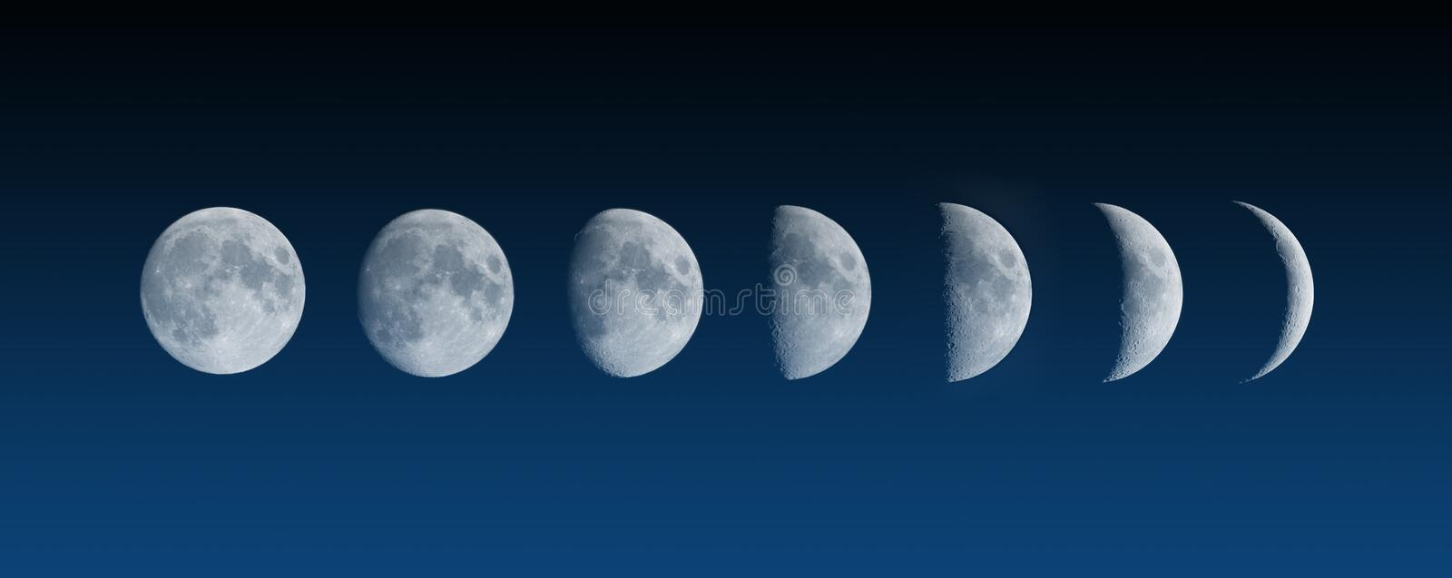 Changing phases of the Moon stock image