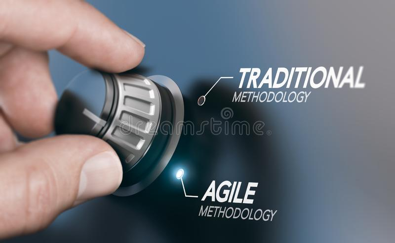 Changing Project Management Methodology From Traditional to Agile PM. Man turning knob to changing project management methodology from traditional to agile PM royalty free stock images