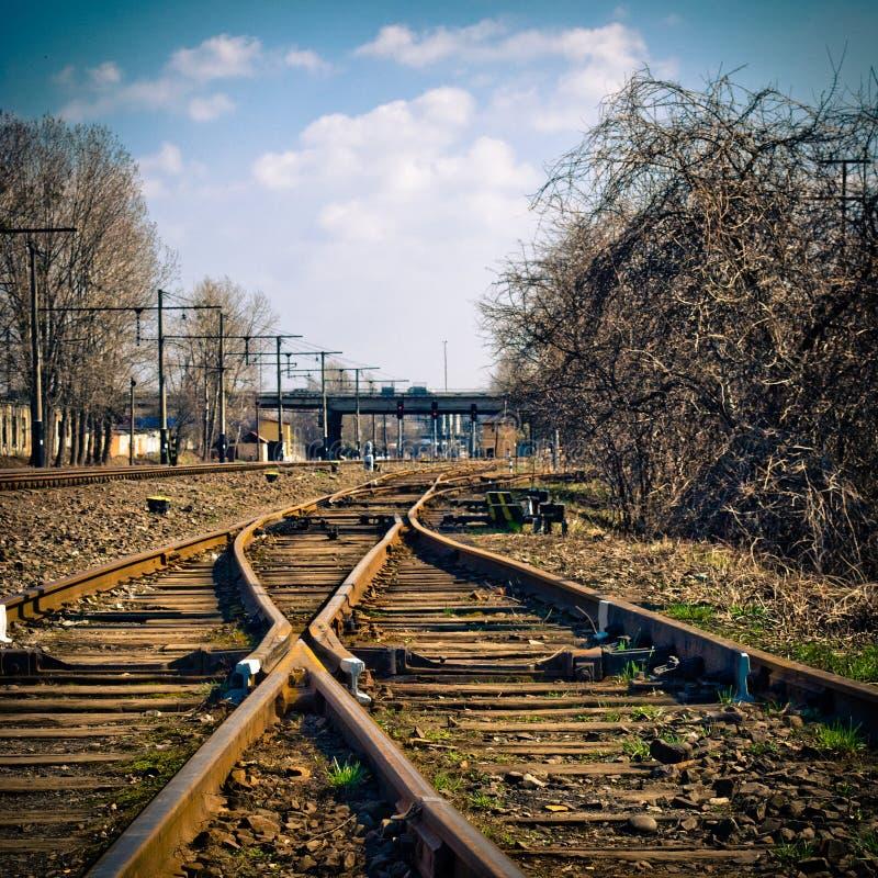 Changing railroad tracks stock photo