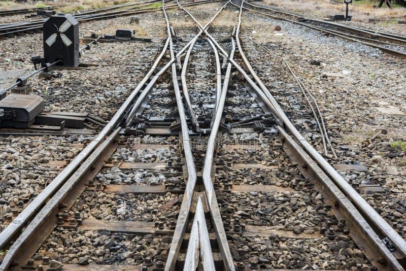 Changing railway tracks royalty free stock photos