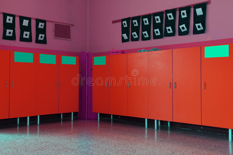 Changing rooms and lockers of kindergarten for children stock photo