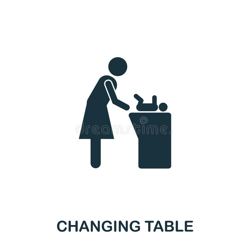 Changing Table icon. Mobile apps, printing and more usage. Simple element sing. Monochrome Changing Table icon. Illustration vector illustration