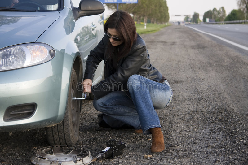 Download Changing the wheel stock photo. Image of road, highway - 5346126