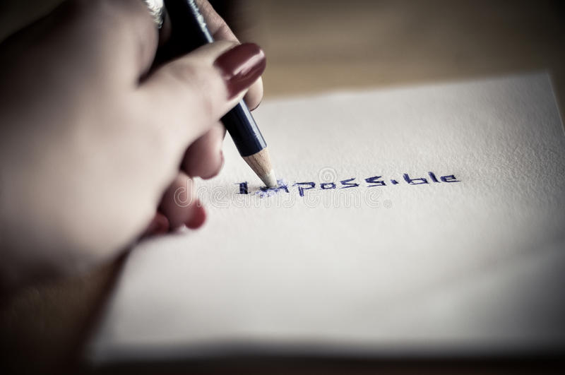 Changing the word impossible to possible stock image