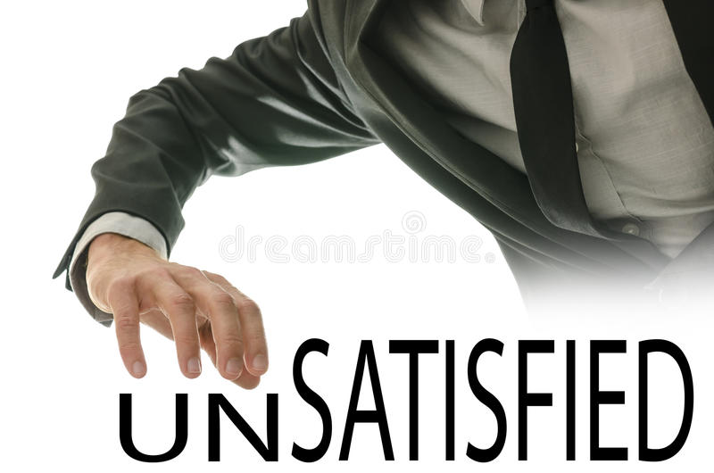 Changing Word Unsatisfied Into Satisfied Stock Photos