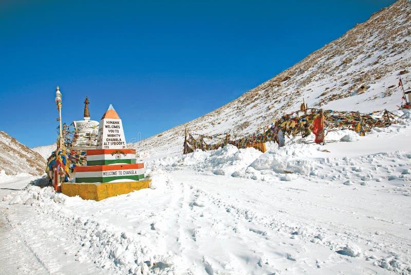ChangLa Pass in winter on the way to Pangong Lake, Leh-Ladakh, Jammu and Kashmir, India stock image