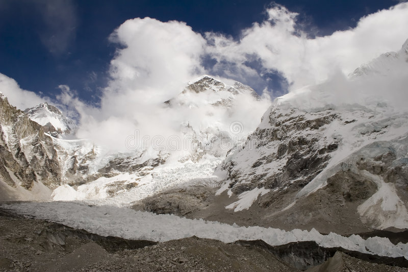 Changtse, Khumbutse, et Everest photo stock