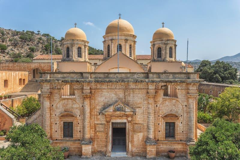 Chania, Ελλάδα - τον Αύγουστο του 2017: Μοναστήρι Agia Triada Tzagaroli στην περιοχή Chania στο νησί της Κρήτης, Ελλάδα στοκ εικόνες