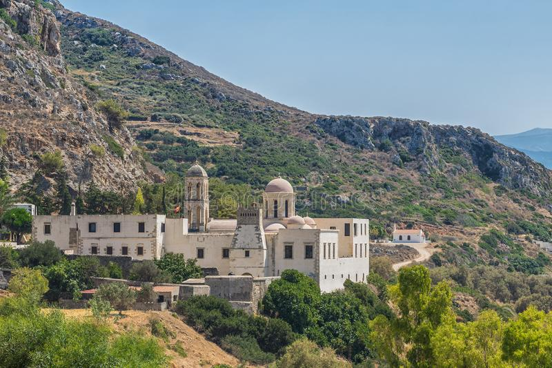 Chania, Ελλάδα - τον Αύγουστο του 2017: Μοναστήρι Odigitria Gonia στην περιοχή Chania στο νησί της Κρήτης, Ελλάδα στοκ εικόνα