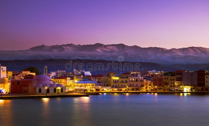 Chania με τον καταπληκτικό φάρο, στο ηλιοβασίλεμα, Κρήτη, Ελλάδα στοκ εικόνες