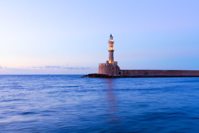 Маяк Chania, Крита, Греции стоковое фото