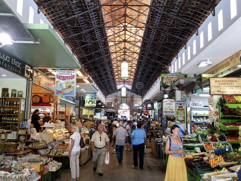 Chania Centrale Markt royalty-vrije stock afbeelding