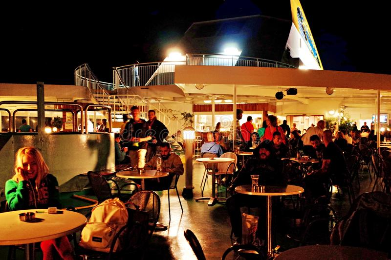Night ferry from Athens to Crete - Anek Line stock photos