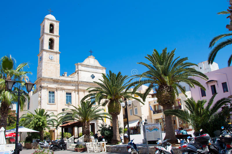 CHANIA, CRETE ISLAND, GREECE - JUNE 24, 2017: Greek Orthodox Cathedral - Church of the Trimartyri in the old town of Chania. Sunny royalty free stock photo
