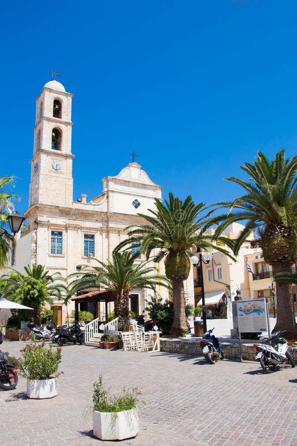 CHANIA, CRETE ISLAND, GREECE - JUNE 24, 2017: Greek Orthodox Cathedral - Church of the Trimartyri in the old town of Chania. Sunshine stock images