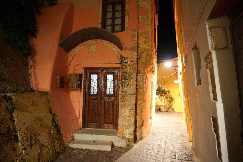 Chania, Crete, 01 October 2018 Typical examples of Cretan architecture in the streets of the city center stock photography