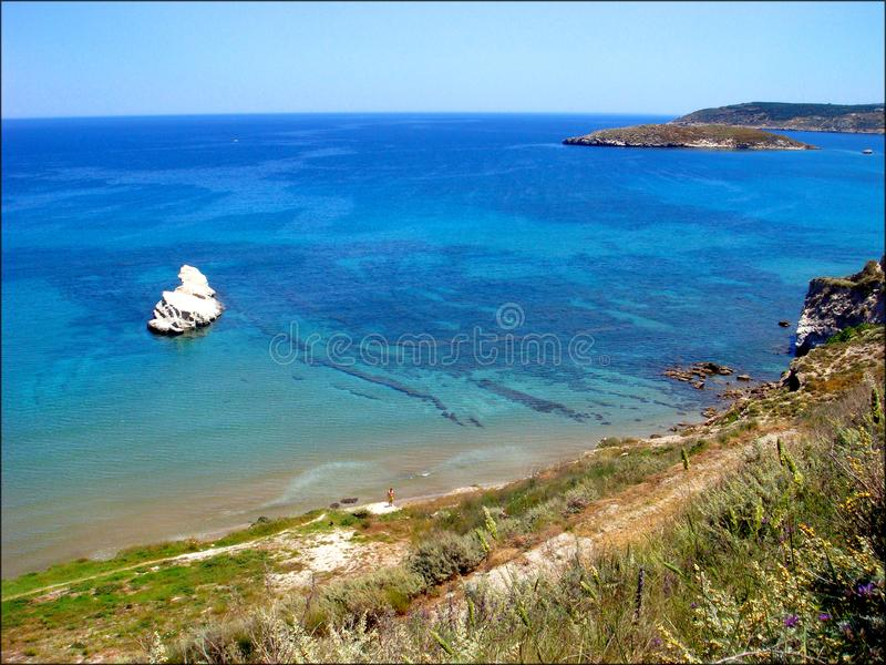 Chania Grecia de la playa de Almirida que sorprende la ubicación privada foto de archivo libre de regalías