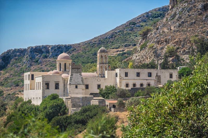 Chania, Griechenland - August 2017: Kloster Gonia Odigitria in Chania-Region auf Kreta-Insel, Griechenland stockfotografie