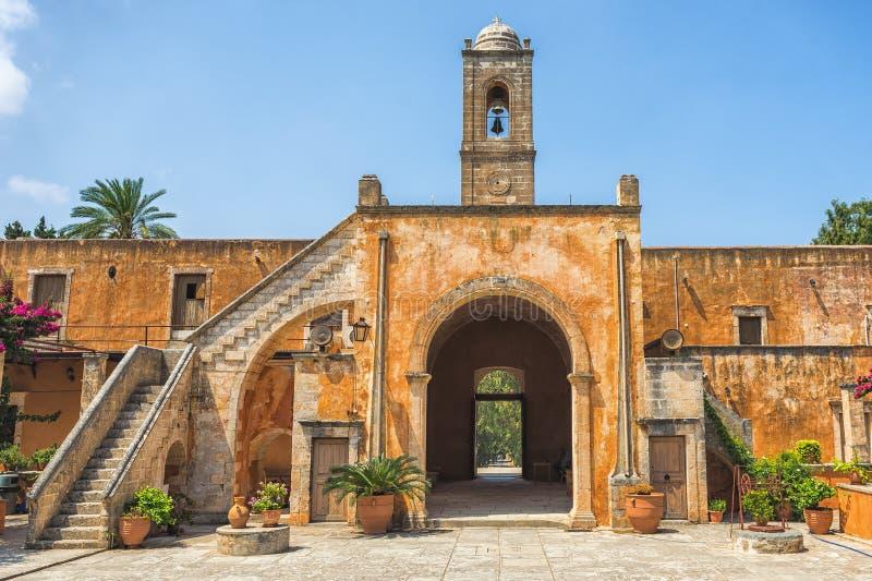 Chania, Griechenland - August 2017: Kloster von Agia Triada Tzagaroli in Chania-Region auf Kreta-Insel, Griechenland stockbild
