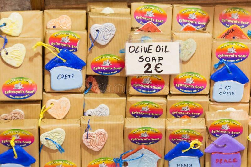Chania, Kreta, Griechenland - 24. Juni 2017: Seifen und Kosmetik handgemacht auf Markt in der Mitte von Chania lizenzfreie stockfotografie
