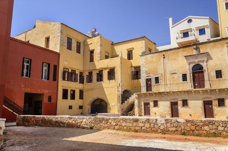 Chania - 21 Mei - Oude stad. Het Maritieme Museum van Chania, Kreta, stock afbeeldingen