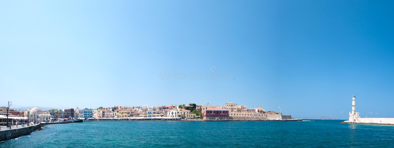 Chania old harbour panorama stock photos
