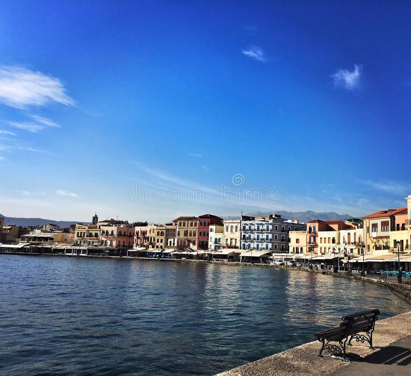 Chania oude haven royalty-vrije stock foto's