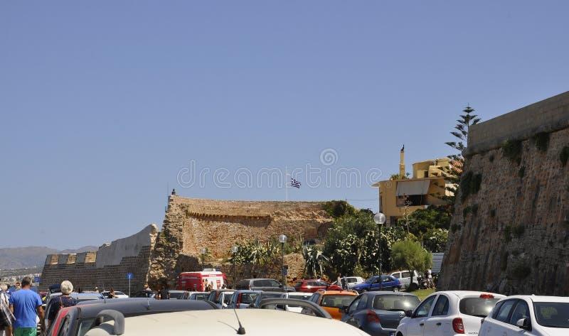 Chania, 1 september: De bouw van de Firkavesting van Chania in Kreta van Griekenland stock foto's