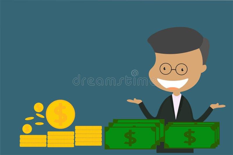 Chanida_The męski charakter jest ubranym czarnego kostiumu standing_Concept mieszkania stylu wektorową ilustrację o finansowej in zdjęcia stock