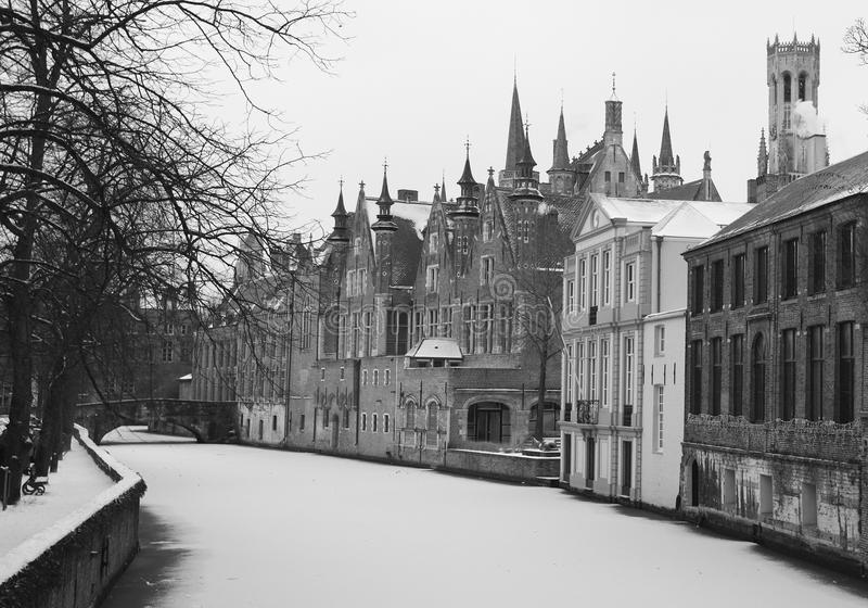 Download Channel in Bruges stock image. Image of cold, snow, architecture - 29029605