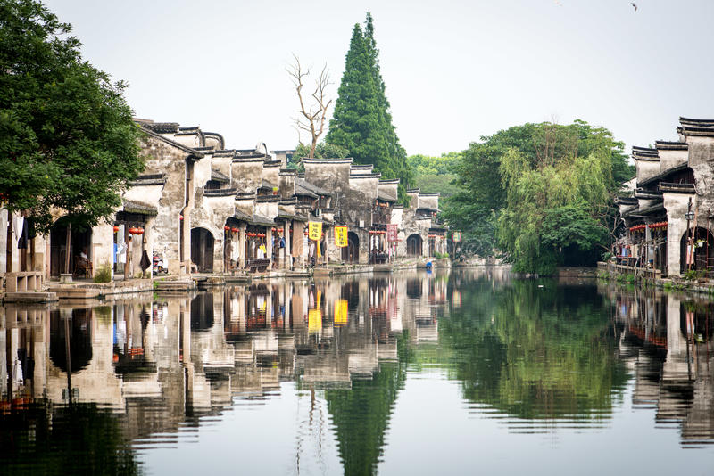 Channel in a Chinese watertown stock images